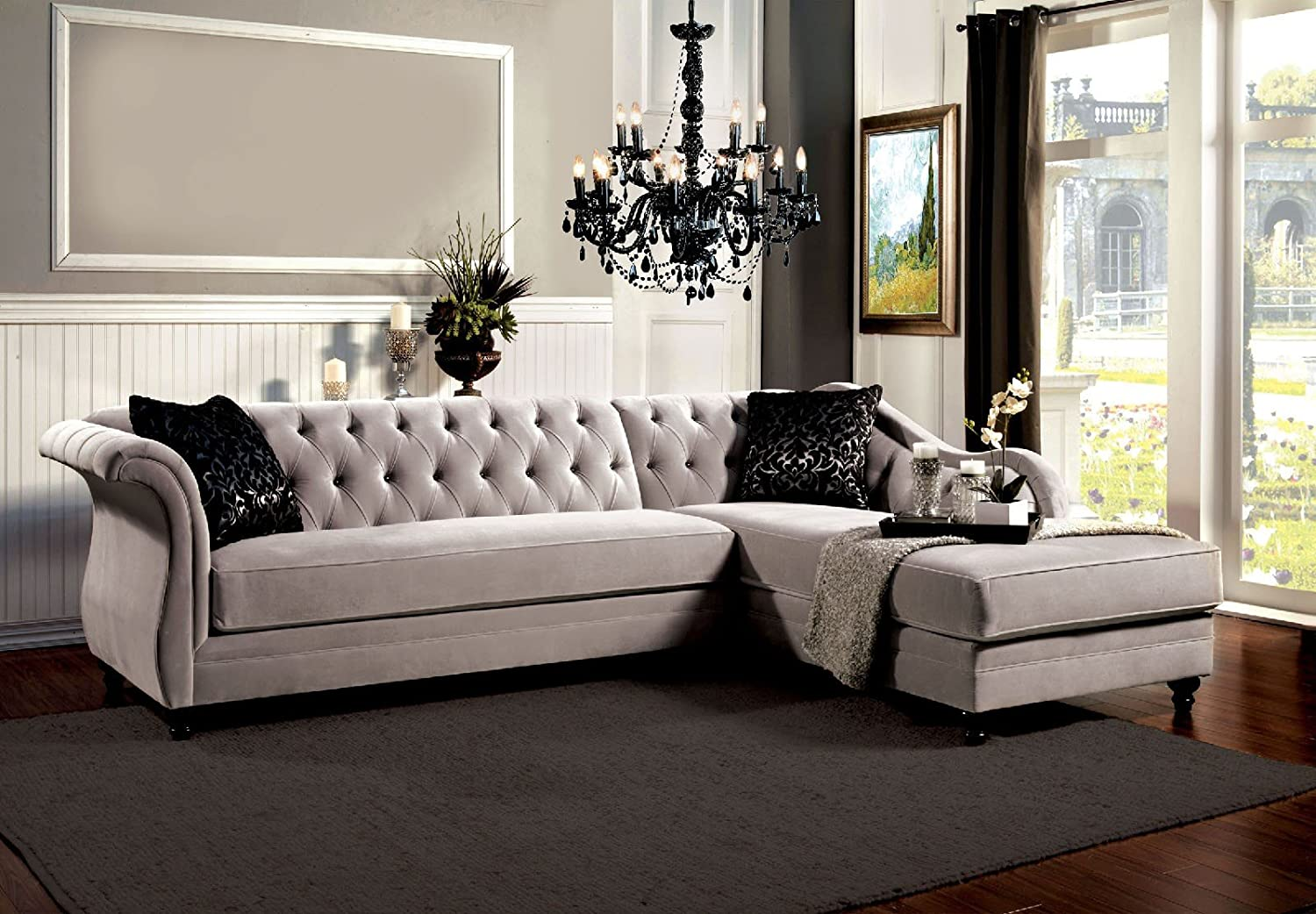 Prime Amazon Com Esofastore Traditional French Style Sectional Evergreenethics Interior Chair Design Evergreenethicsorg