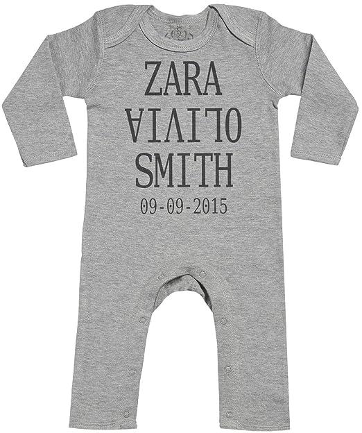 Personalizados bebé Full Name & DOB Footless - personalizados peleles para bebé - peleles para bebé