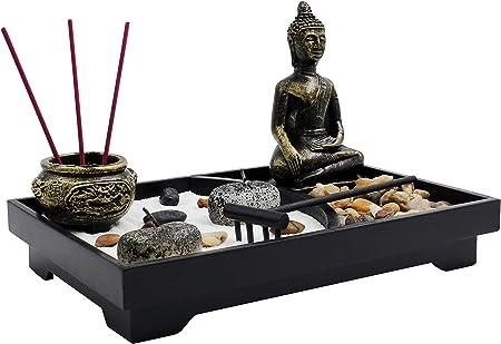Royal marcas de jardín zen con Buda, rastrillo, vela de té vela y soporte para incienso – paz y tranquilidad (9
