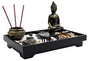 """Royal Brands Zen Garden with Buddha, Rake, Rock Candle, and Incense Holder – Peace and Tranquility (9""""x6""""x7"""")"""