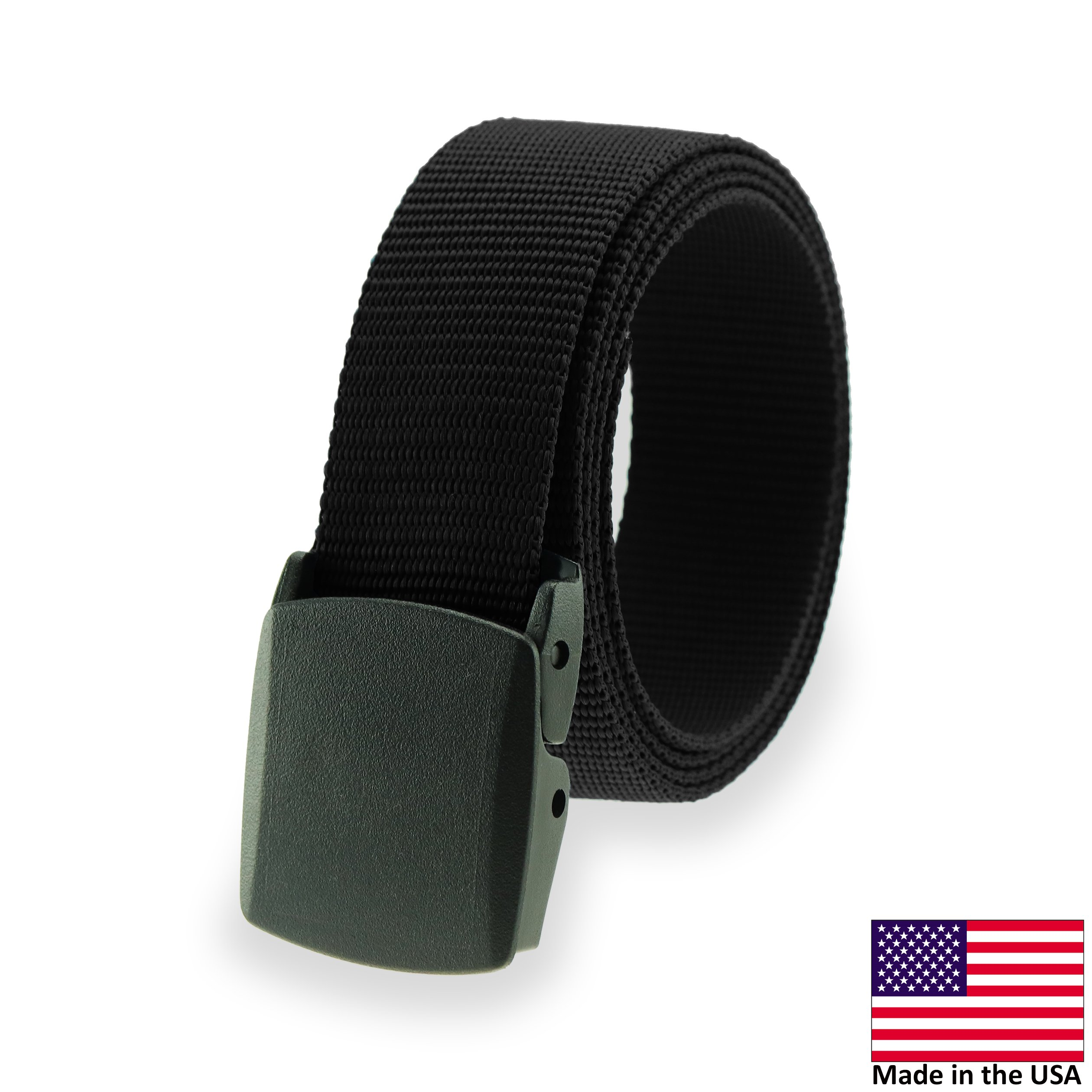 Military Style Tactical Belt - Made in USA by Thomas Bates (Black)