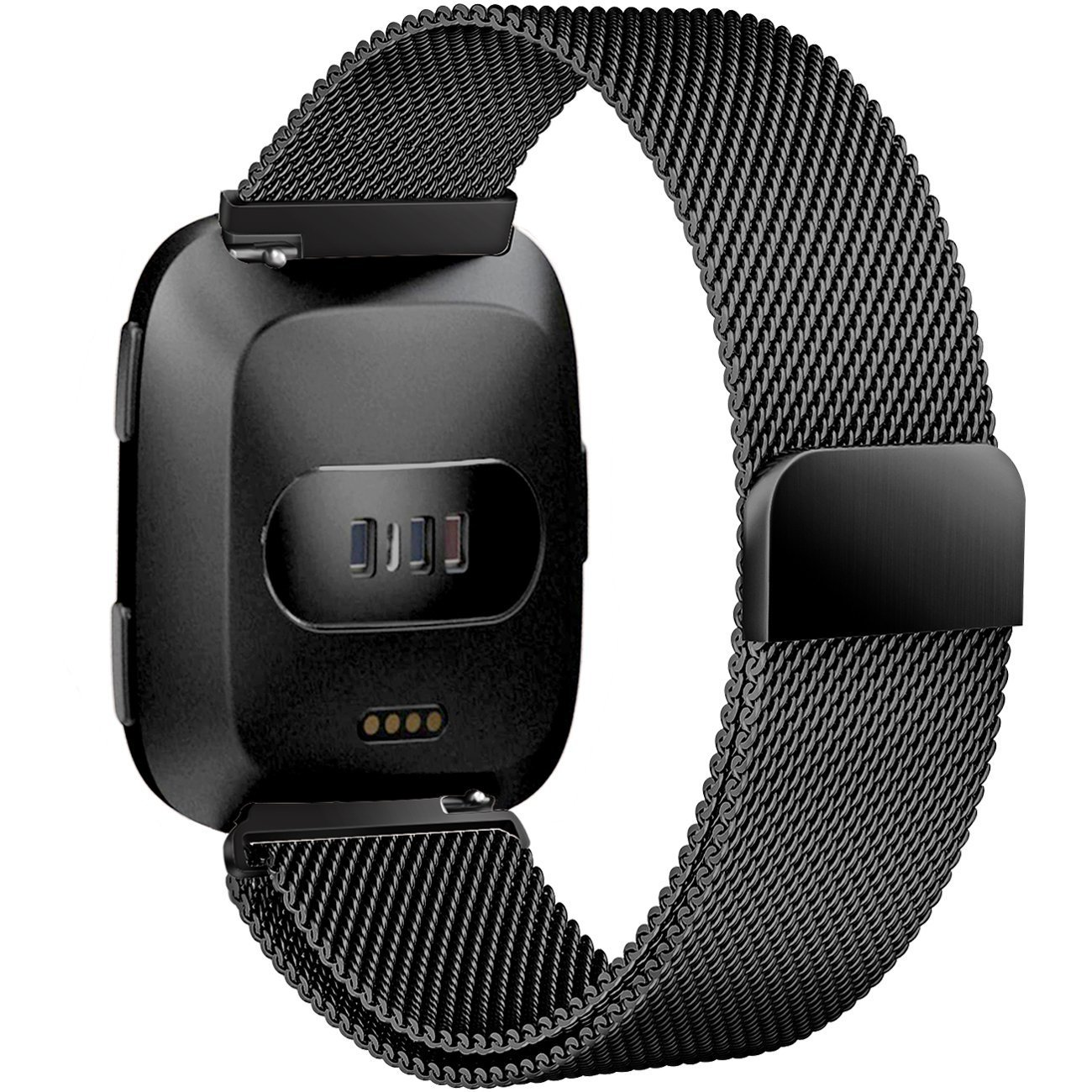 Fun Sponsor Fitbit Versa Strap Bands, Luxury Milanese Stainless Steel Adjustable Smart Watch Strap with Magnetic Closure for Fitbit Versa
