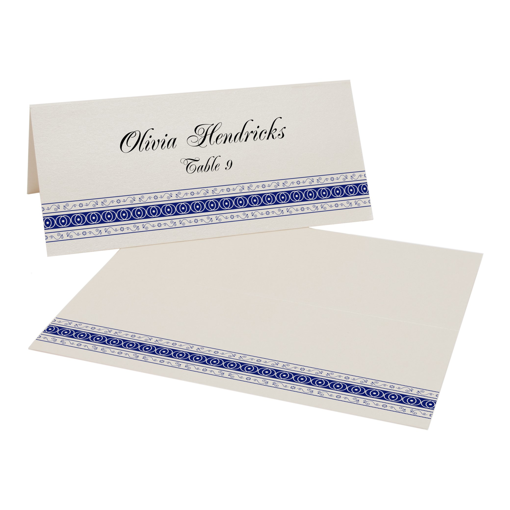 Mumbai Inspired Border Place Cards, Champagne, Navy, Set of 375 by Documents and Designs