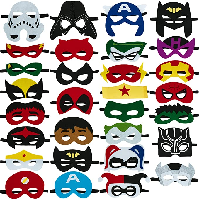 Totteri 30pcs Superhero Masks For Kids Christmas Costumesfelt Mask Superheroes Birthday Party Favor Cosplay Toy For Boys And Girls