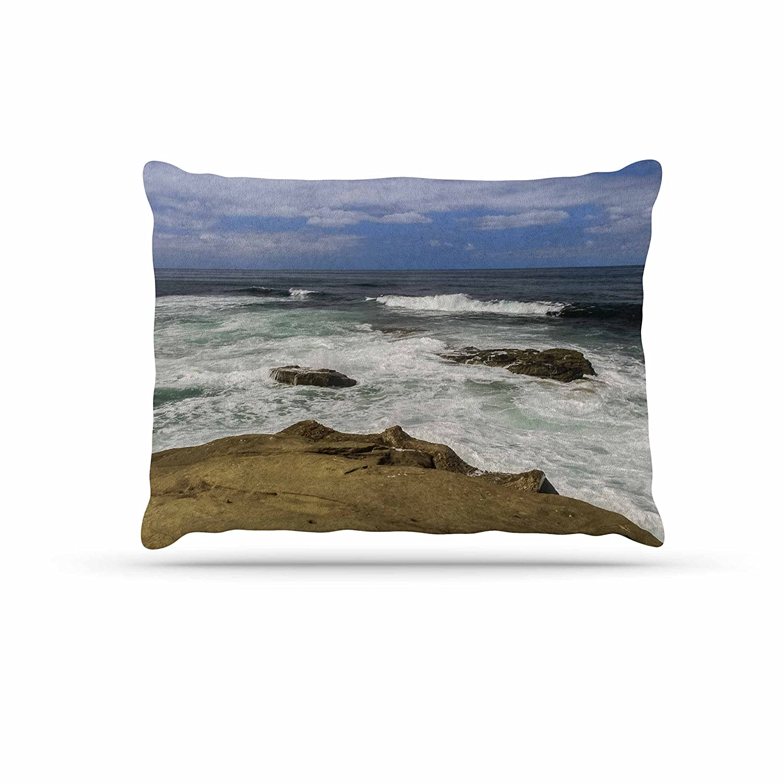 KESS InHouse Nick Nareshni Lonely Boat on Coast Green bluee Photography Dog Bed, 50  x 40
