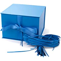 """Hallmark 7"""" Gift Box with Lid and Paper Fill (Blue) for Hanukkah, Christmas, Holidays, Father's Day, Birthdays, Baby…"""