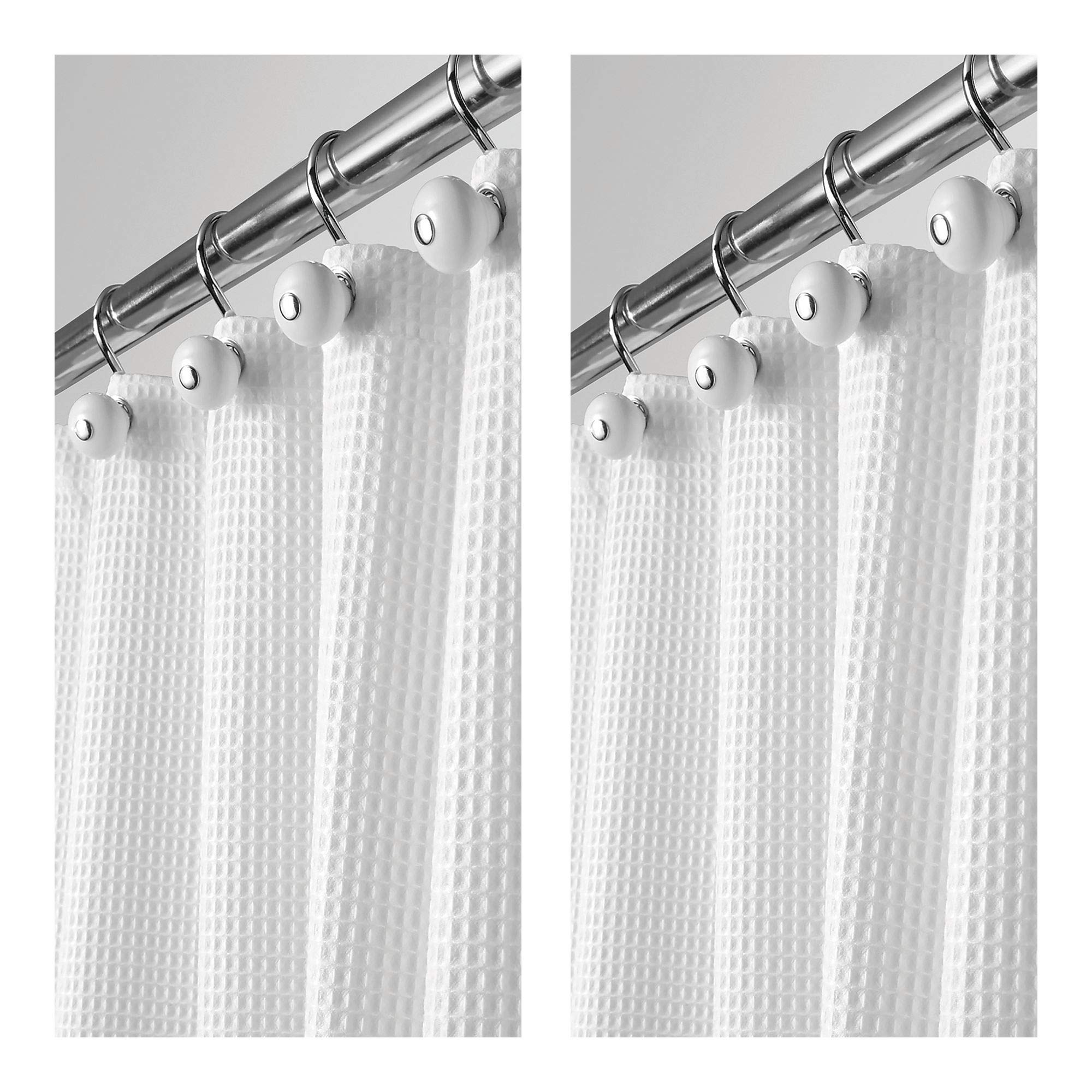 mDesign Long Hotel Quality Polyester/Cotton Blend Fabric Shower Curtain, Rustproof Metal Grommets - Waffle Weave for Bathroom Showers and Bathtubs - 72'' x 84'', Pack of 2, White