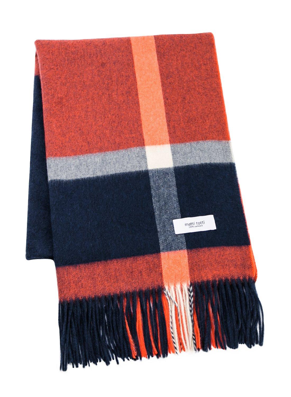 Navy X Orange 100% Cashmere Plaid Shawl Stole Women Gift Scarves Wrap Blanket B1114B1-11