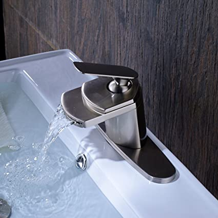 Senlesen Brushed Nickel Single Handle Waterfall Bathroom Sink Vessel Faucet  Lavatory Mixer Tap With One Hole