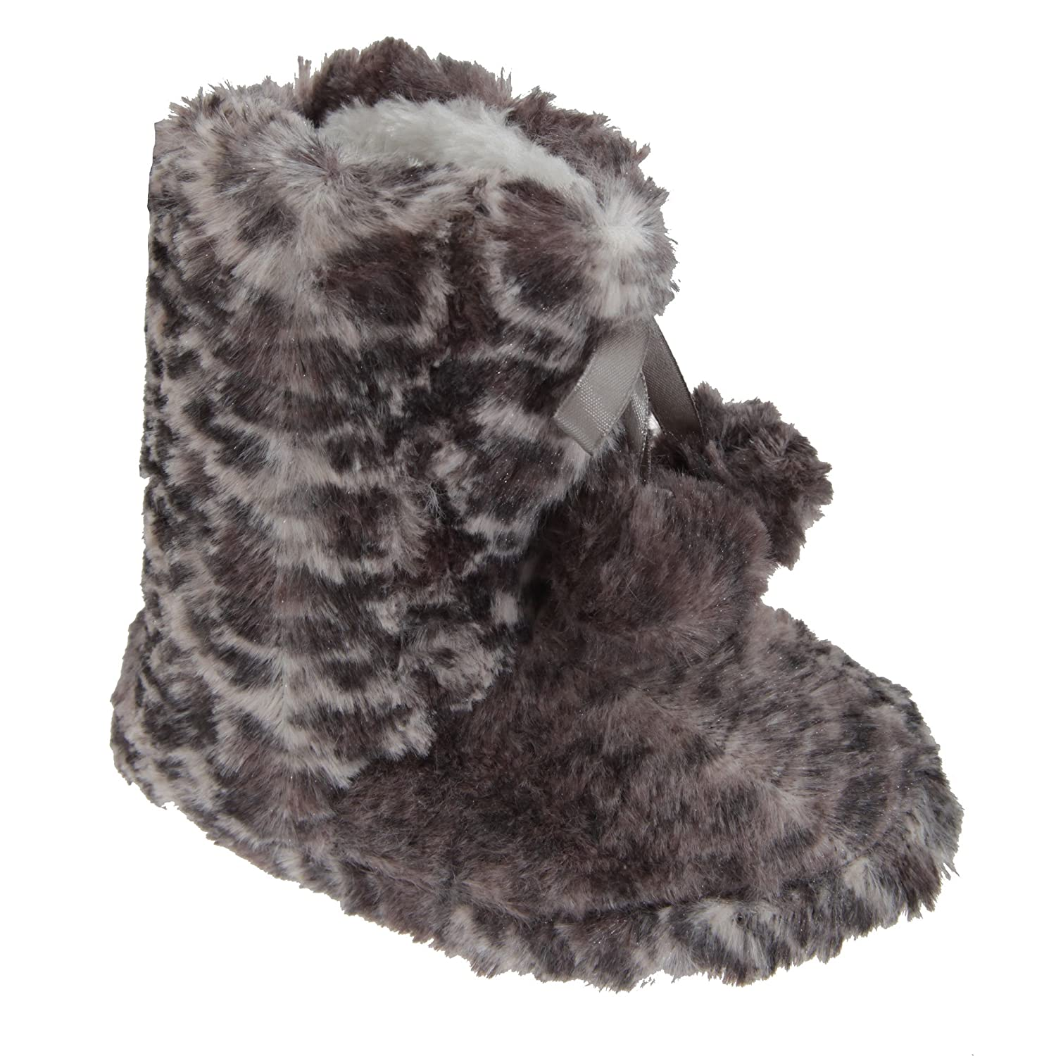 Universal Textiles Big Girls Leopard Print Boot Slippers with Bow and Pom-Poms