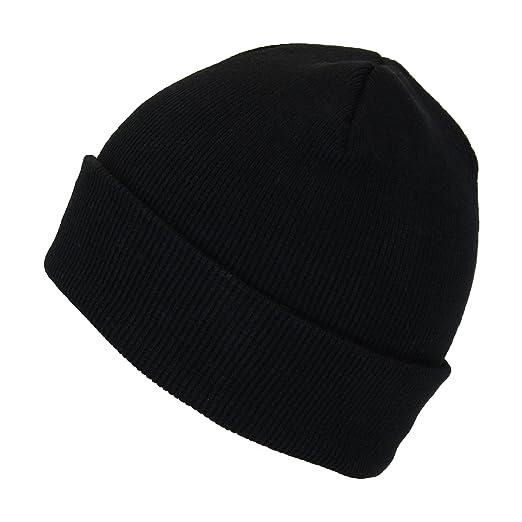 a28ca48e7 Black Unisex Stretchy Cuffed Beanie Hat, Chunky Winter Knit Skull ...