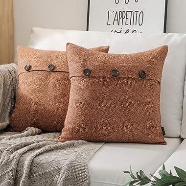 Phantoscope Set of 2 Triple Button Cotton Blend Throw Pillow Case Cushion Cover Orange 22 x 22 inches 55 x 55 cm
