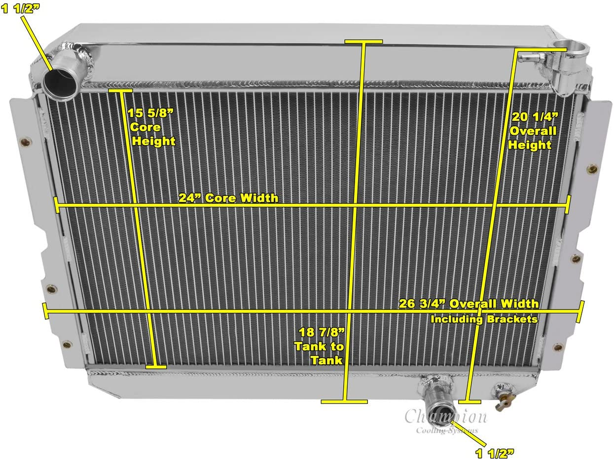 3 Row All Aluminum Radiator for Toyota Land Cruiser Champion Cooling CC1213