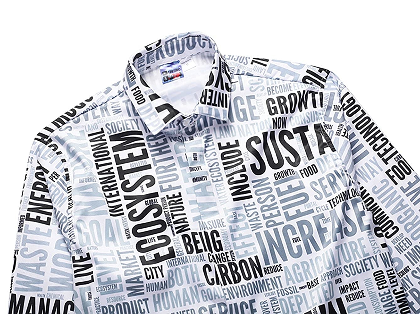 UGGKA US Mens Casual Button Down 3D Print Long-Sleeve Large-Scale Shirts