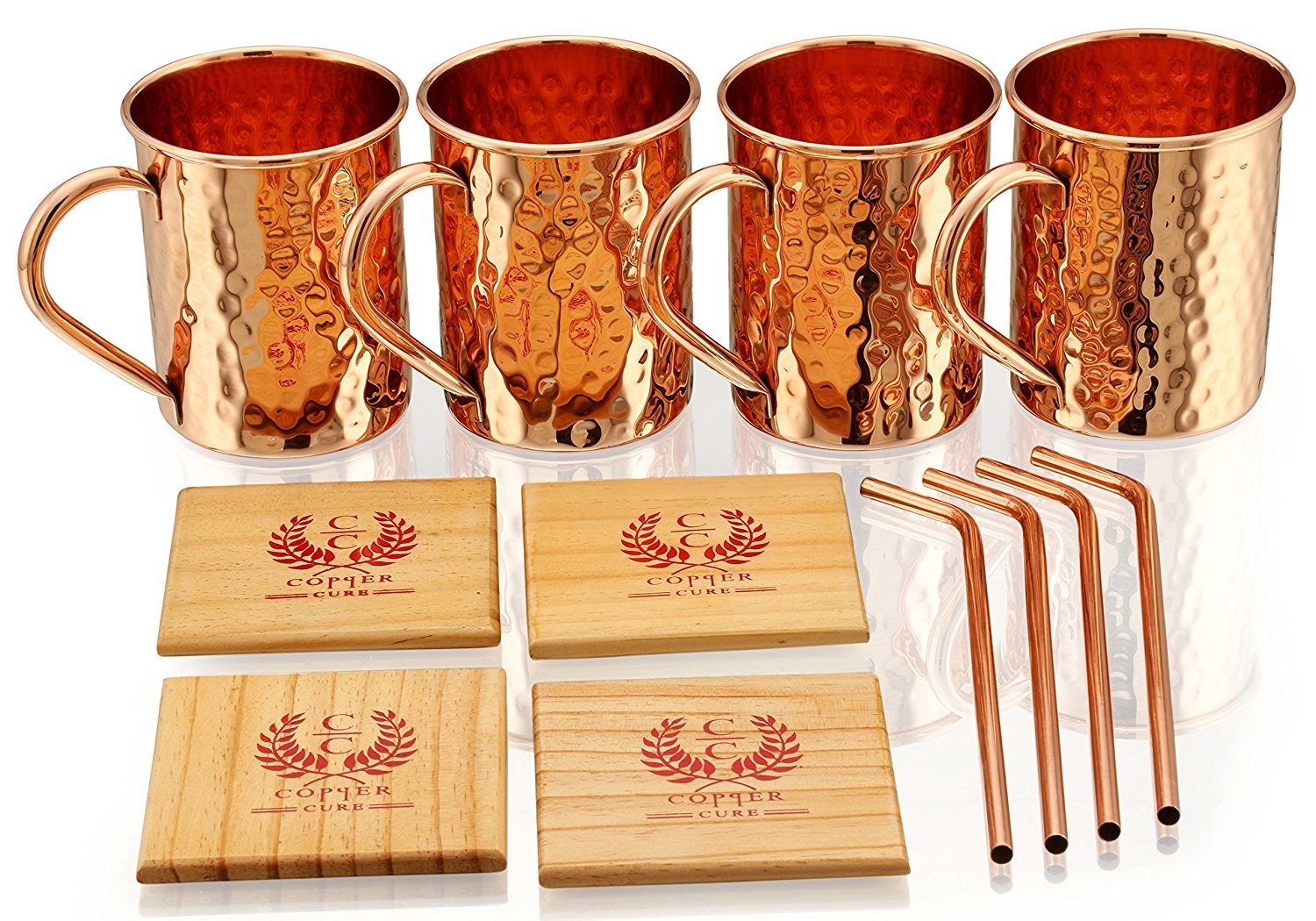 SOLID COPPER MUGS WITH COPPER STRAWS AND PINE WOOD COASTERS – PREMIUM QUALITY -16 Oz Hammered Mug – 100% Handcrafted…