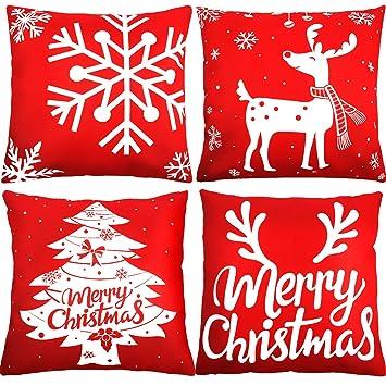 4 Stück Weihnachten Kissenbezüge Kissenbezug Kopfkissenbezug 18 x 18 ...