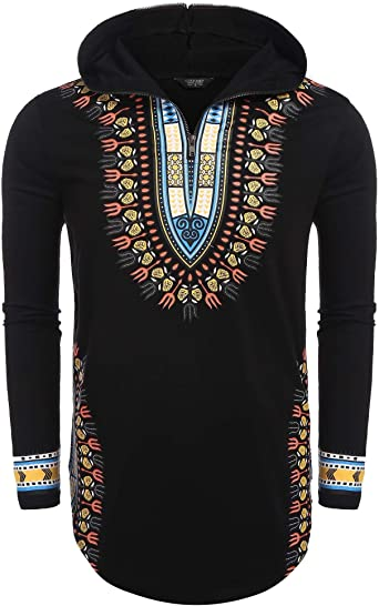 Cromoncent Mens Long Sleeve Fashion Dashiki Ethnic Style Printed Hooded Sweatshirts