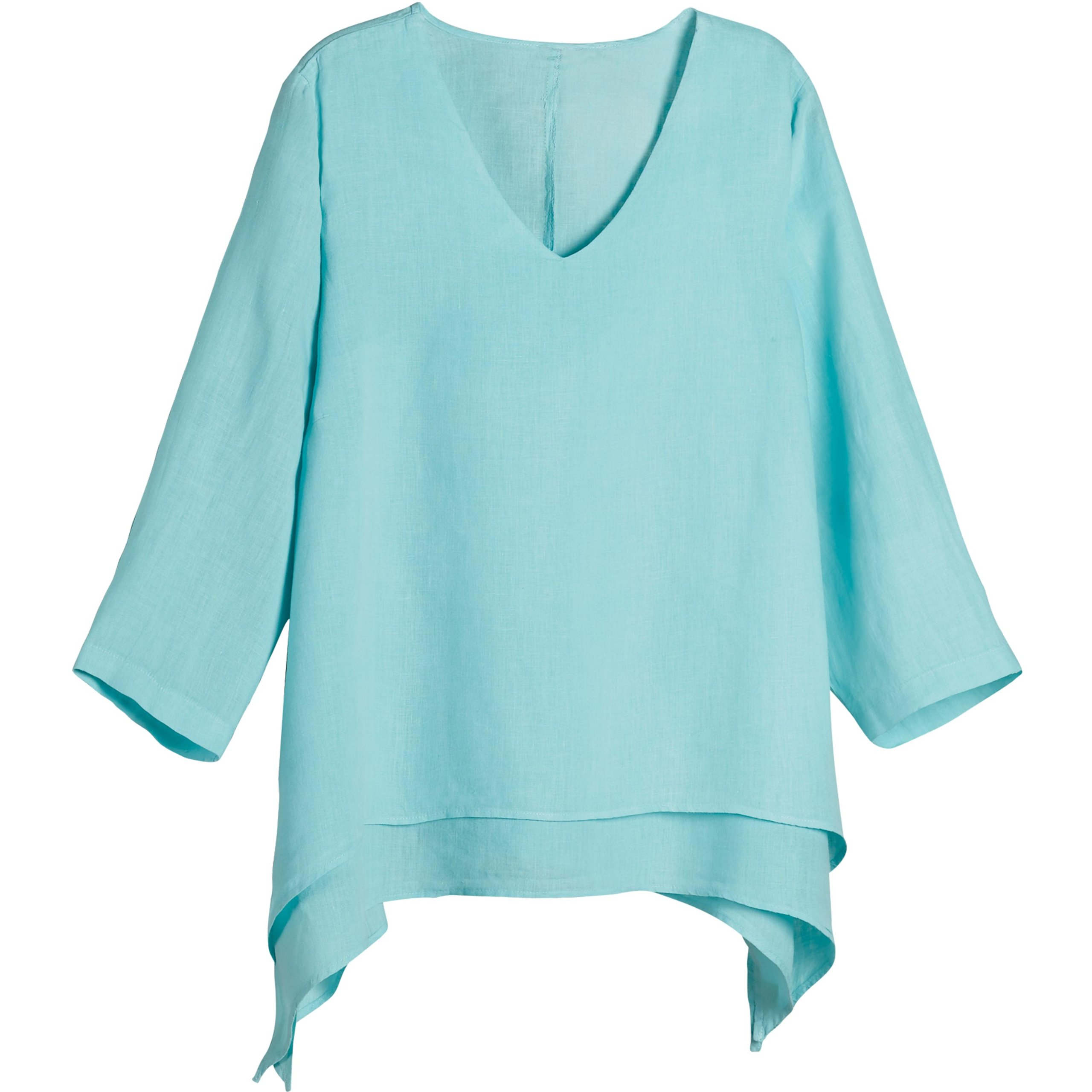 Women's Easy Fit Double Layer Garment Dyed Linen Tunic Top - 2X - Aqua