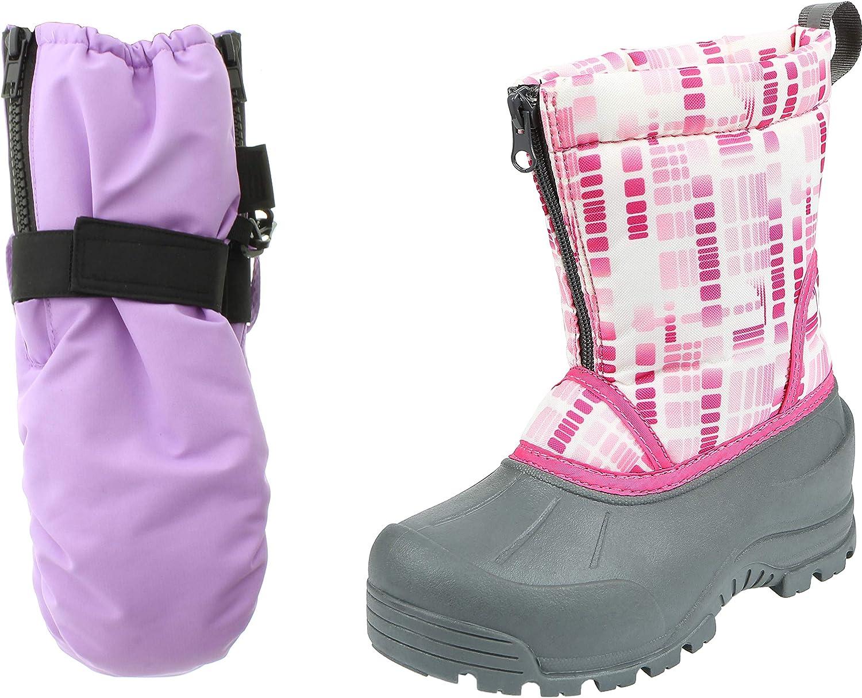 Northside Kids Winter Snow Boots /& Gloves Combo for Girls /& Boys