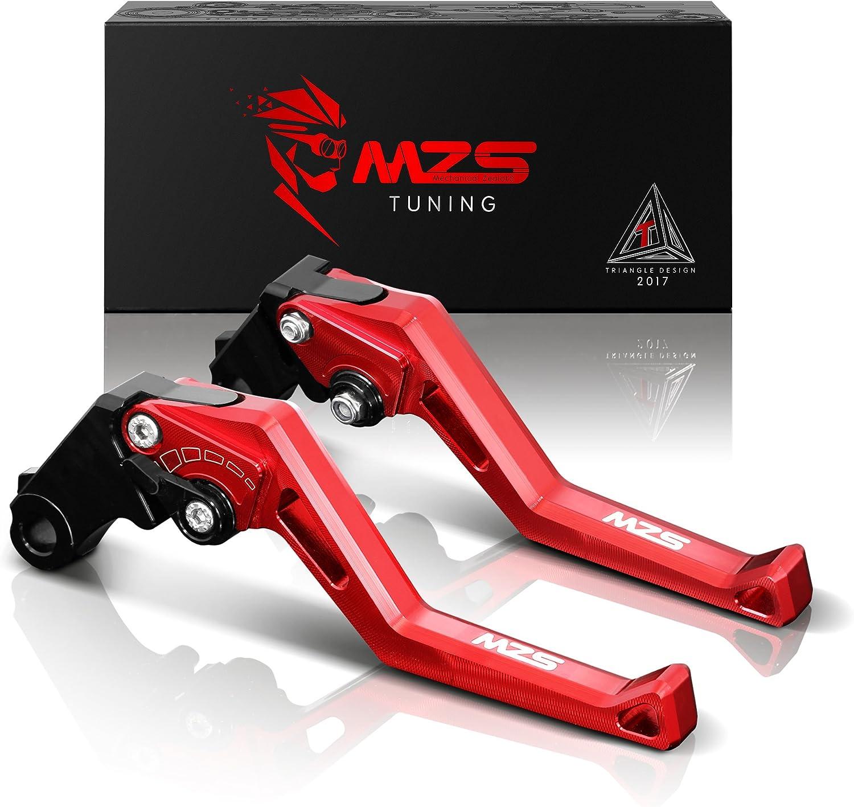 MZS Short Levers Brake Clutch Square Adjustment Red compatible Kawasaki Ninja ZX 1100 ZX1100 ZX-11 ZX11 1990-2001