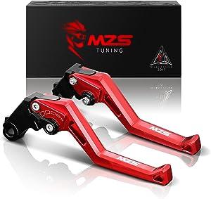MZS Short Levers Brake Clutch Square Adjustment Red for Kawasaki ZX6R 636 2007-2018 | ZX10R 2006-2015 | Z750R 2011-2012 | Z1000 2007-2016 | Z1000SX Tourer 2011-2016 | NINJA 1000 2011-2016