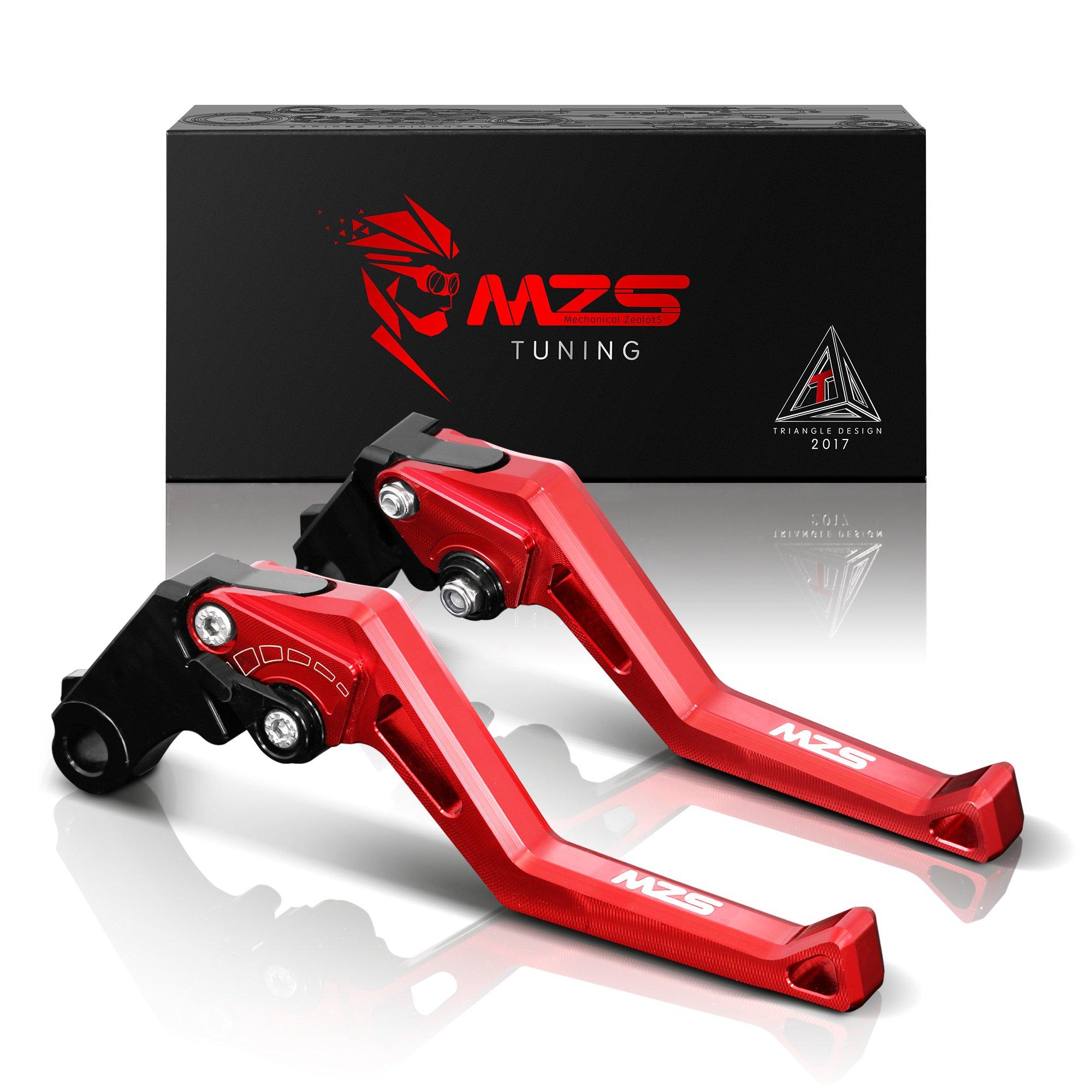 MZS Short Levers Brake Clutch Adjustment CNC for Kawasaki ZX6R ZX636 2007-2018/ ZX10R 2006-2015/ Z750R 2011-2012/ Z1000 2007-2016/ Z1000SX Tourer 2011-2016/ NINJA 1000 2011-2016 Red