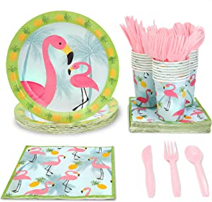 Flamingo Party Bundle Includes Plates, Napkins, Cups, and Cutlery (Serves 24,144 Pieces)