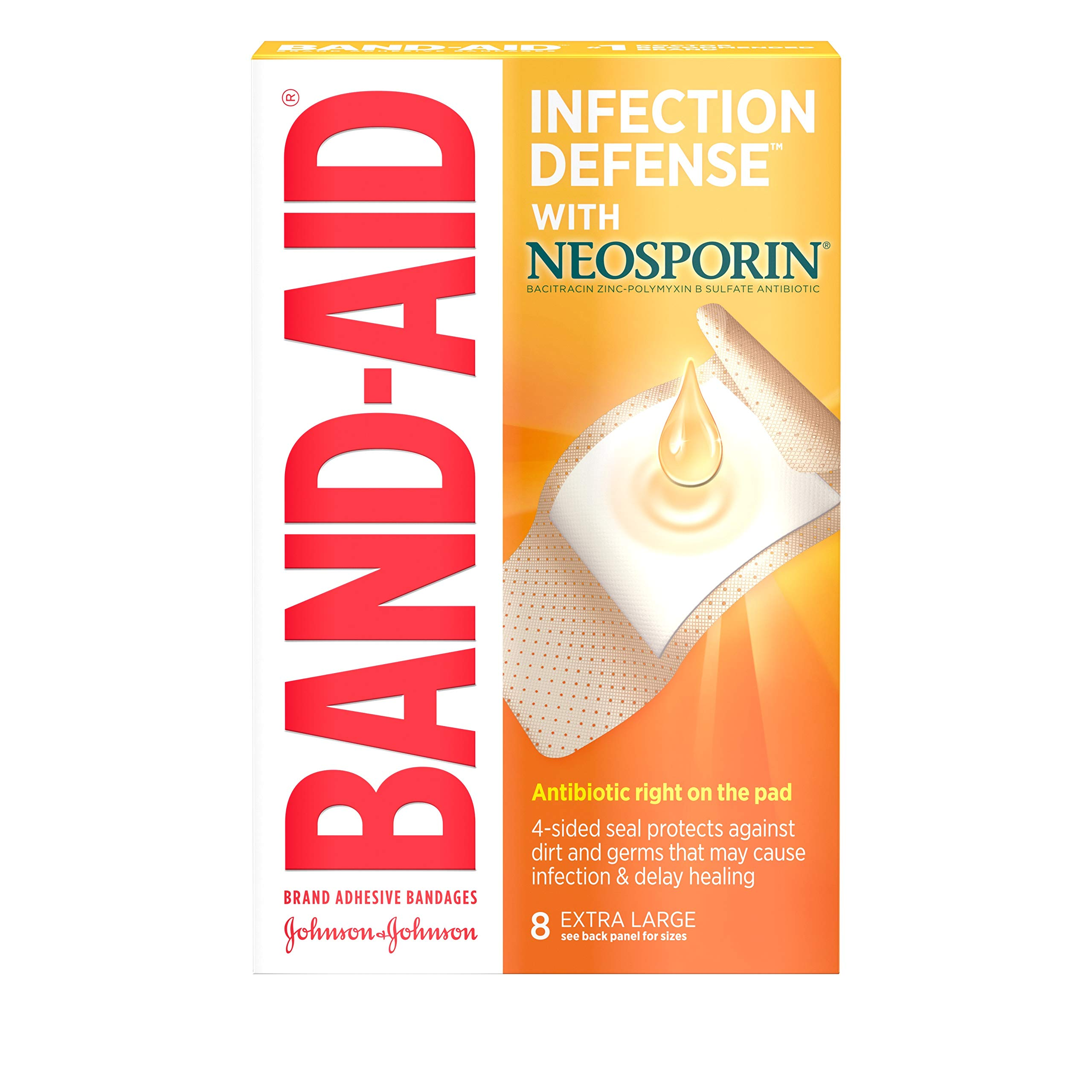 Band-Aid Brand Adhesive Bandages Infection Defense with Neosporin Antibiotic Ointment, for Wound Care and First Aid, Extra Large, 8 ct