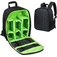 HOUSE OF QUIRK Nylon Camera Backpack with Rain Cover Protector (Green)