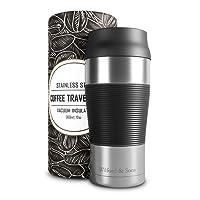 Mug isotherme transportable en acier inoxydable – 360 ml | Tasse à café double-paroi isolée sous-vide, sans BPA, étanche, lavable au lave-vaisselle | Thermos de voyage réutilisable | Thé, café