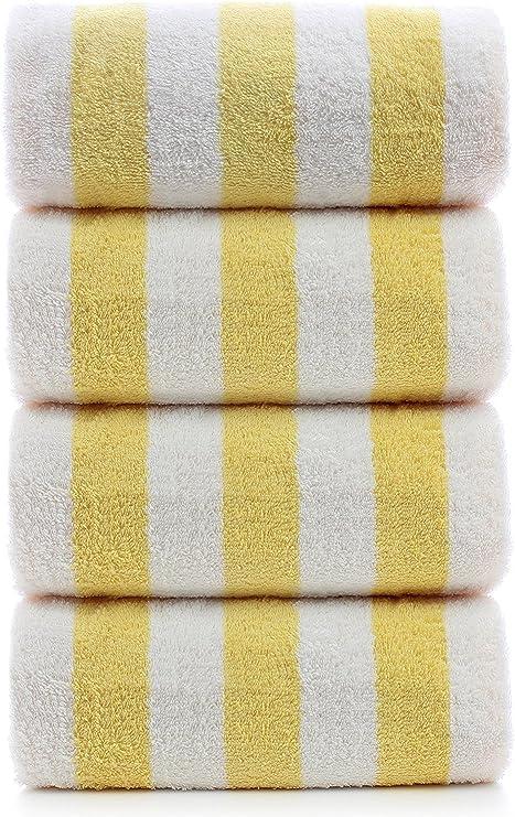 2 new white yellow stripe cotton 30x60 cabana towels pool towel beach pool towel
