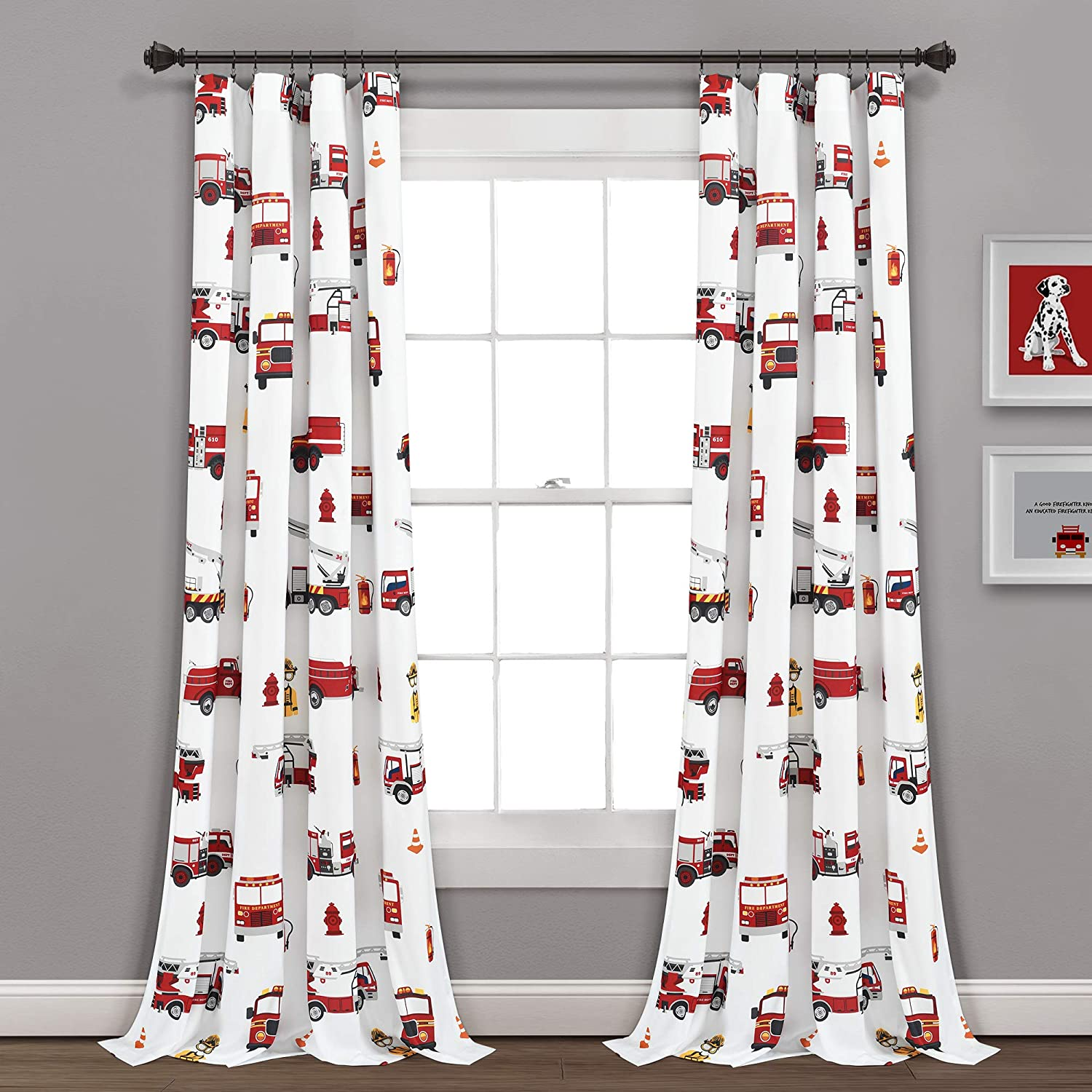 """PB&J Red & White Make A Wish Fire Truck Window Curtain Panel Pair, 84"""" Long x 52"""" Wide, 84 inches"""