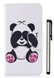LG Aristo Case,LG LV3 Case, LG Phoenix 3 Case, LG K8 2017 Case, LG Fortune Case, LG Risio 2 Case, LG Rebel 2 LTE Case, PU Leather Stand Wallet Credit Card Cash Slots Magnetic Panda (Not Fit 2016)