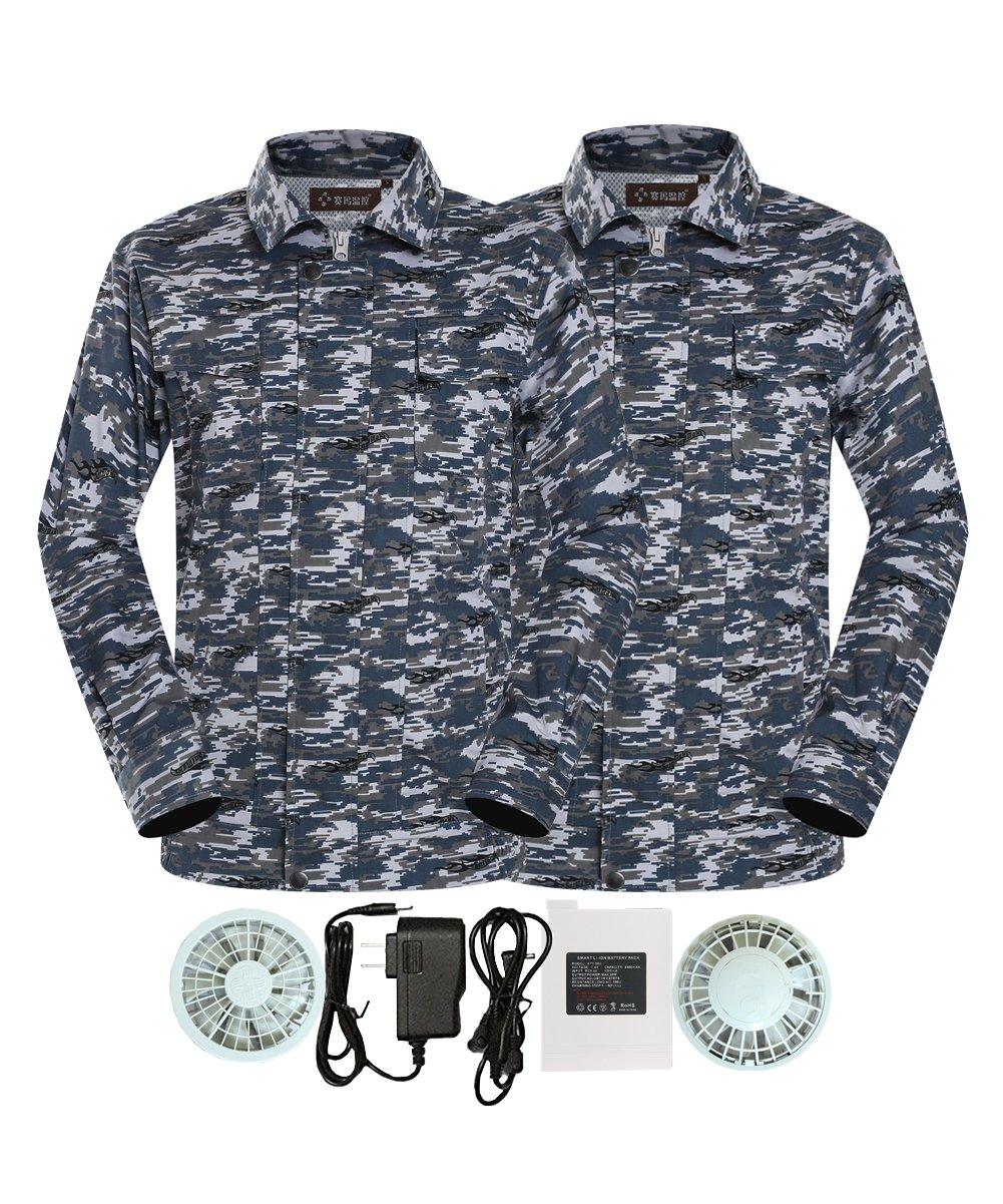 M2C 空調服 空調服神服 長袖ワークブルゾン 2枚セット 綿100% 作業服 ファン付き リチウムイオンバッテリーセット 熱中症対策 B072DX8741 M(Aセット)|迷彩(グレー) 迷彩(グレー) M(Aセット)