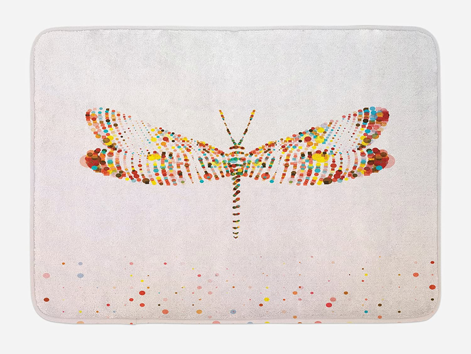 Animal Bath Mat Dragonfly with Dots Non-Slip Plush Mat 29.5 X 17.5 Inches