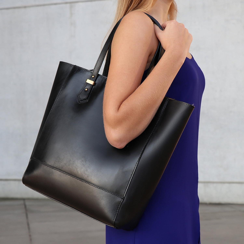 SID & VAIN Sac porté épaule Cuir véritable Trish Cabas elégant Ville Travail Grand Femme Shopper avec Sangle Marron