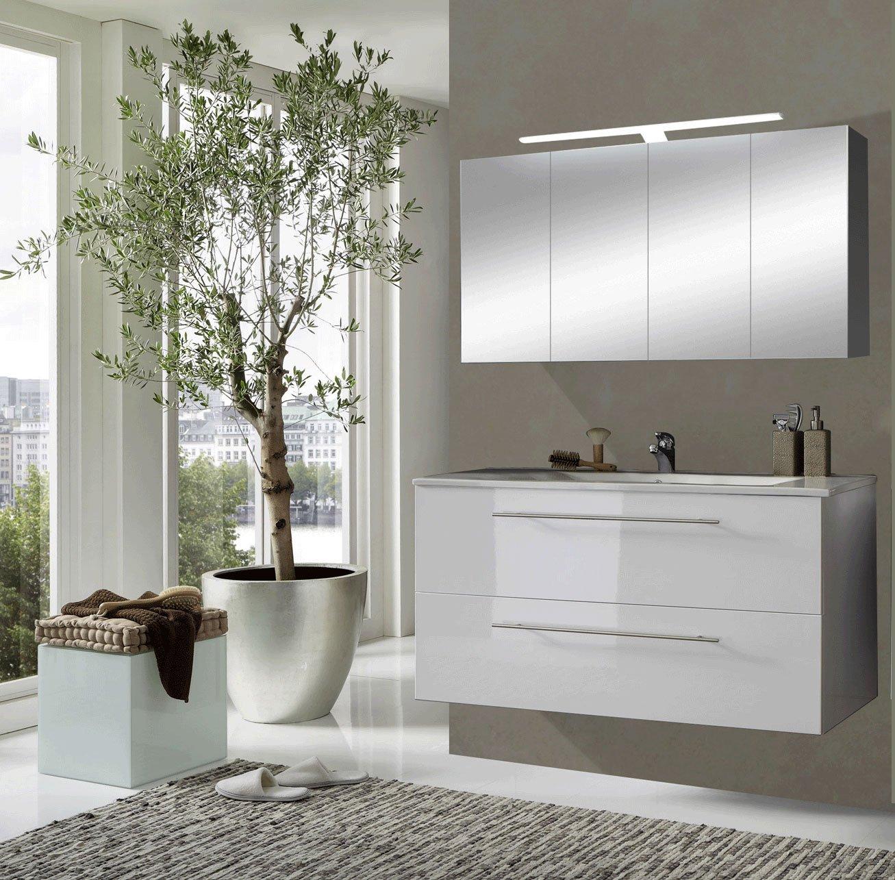 sam® badmöbel-set rom 2tlg in hochglanz weiß, 120 cm breiter ... - Spiegelschrank Badezimmer 120 Cm