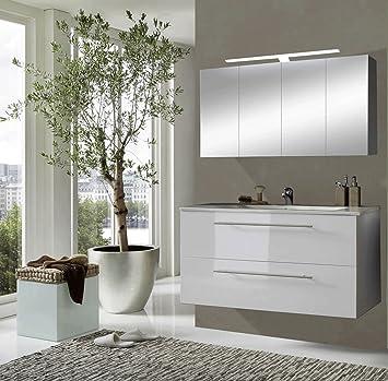 Badezimmermöbel set weiß hochglanz  SAM® Badmöbel-Set Rom 2tlg in Hochglanz weiß, 120 cm breiter ...