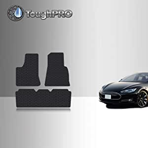TOUGHPRO Floor Mat Accessories Set (Front Row + 2nd Row) Compatible with Tesla Model S - All Weather - Heavy Duty - (Made in USA) - Black Rubber - 2012, 2013, 2014, 2015