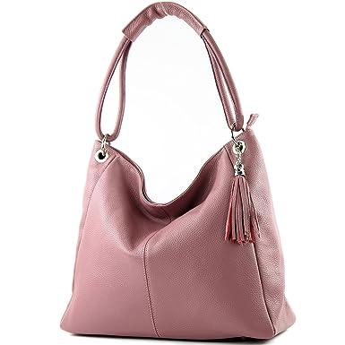 modamoda de - ital. Ledertasche Shopper Damentasche XL DIN A4 Schultertasche Leder T165, Präzise Farbe:Grau/Dunkelgrau modamoda de - Made in Italy