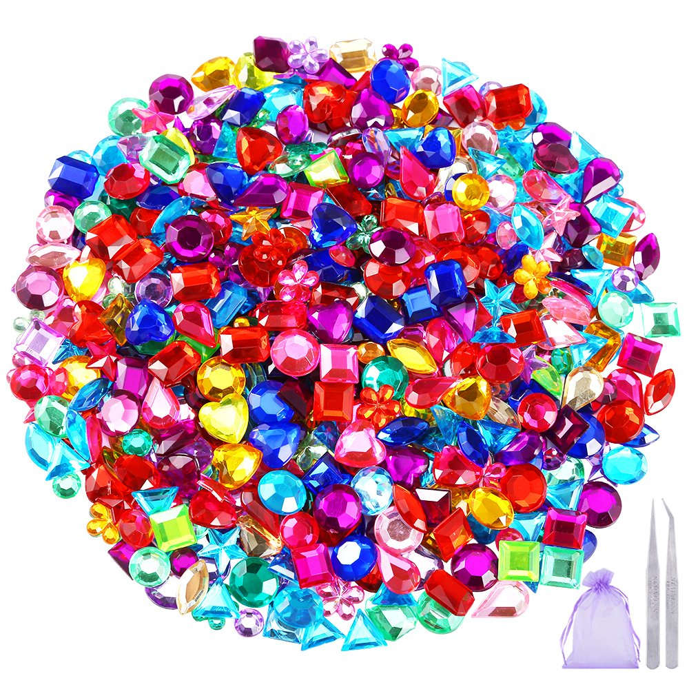 Pllieay 1200 Pieces Gems Acrylic Flatback Rhinestones Gemstone Embellishments, 12 Types, 6-13mm, with Tweezers and Bag