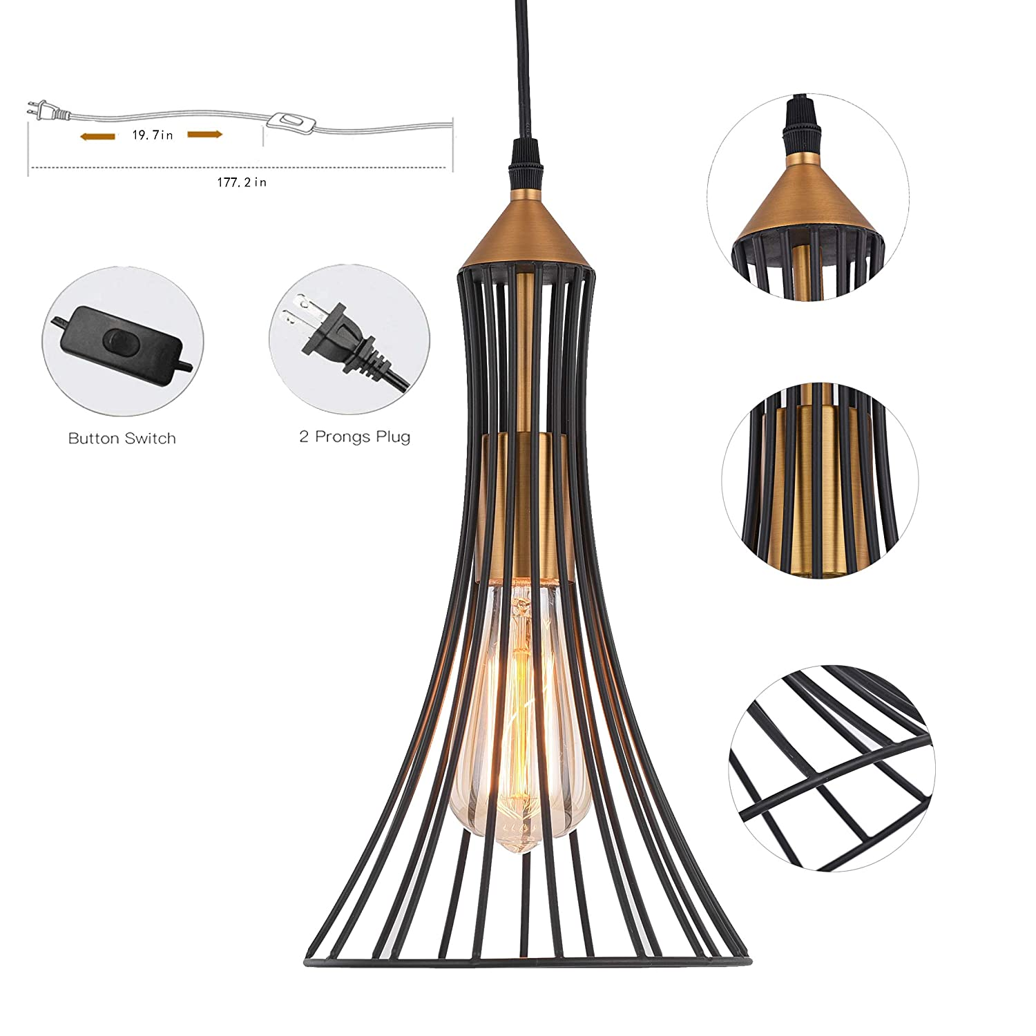 Ceiling Light With15 Ft Plug In Cord Light Fixture With On Off Switch Set Of 2 Us Pl1901 Plug In Pendant Light Hoxiya Metal Hanging Lamp Shade Ceiling Light With15 Ft Plug In Cord