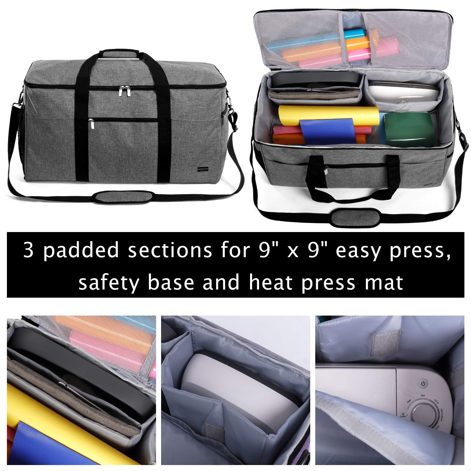 Luxja All-in One Bag for Cricut Die-Cut Machine and Cricut Easy Press (9 x 9 inches), Carrying Case for Cricut Machine and Supplies, Compatible with Cricut Explore Air (Air2) and Maker, Gray