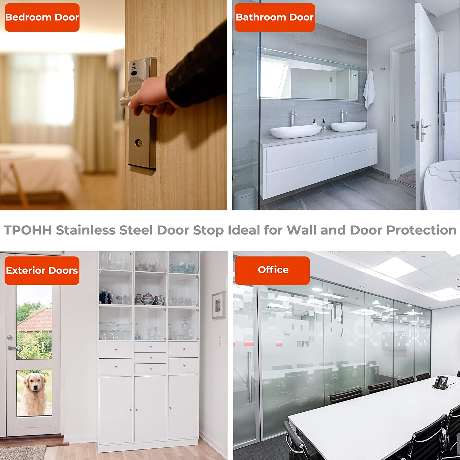 Brushed Stainless Steel TPOHH 2-3//8 Height Contemporary Safety Cylindrical Floor Mount Door Stop
