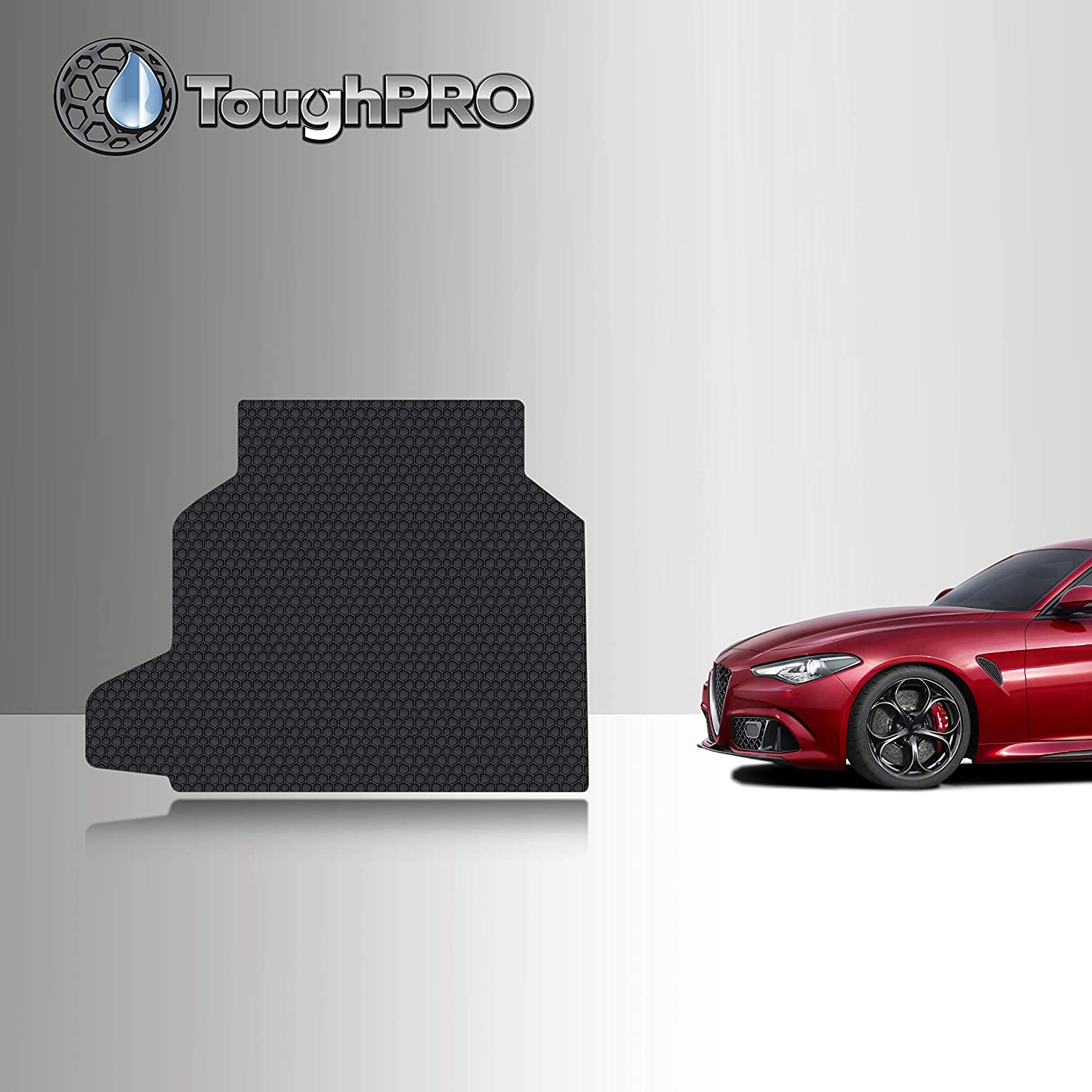 TOUGHPRO Cargo/Trunk Mat Accessories Compatible with Alfa Romeo Giulia Quadrifoglio - All Weather - Heavy Duty - Custom Fit - (Made in USA) - Black Rubber - 2017, 2018, 2019, 2020