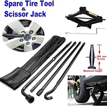 Spare Tire Tool Kit Lug Wrench Ford F-150 04-14 /& 2 Tonne Scissor Jack Stands