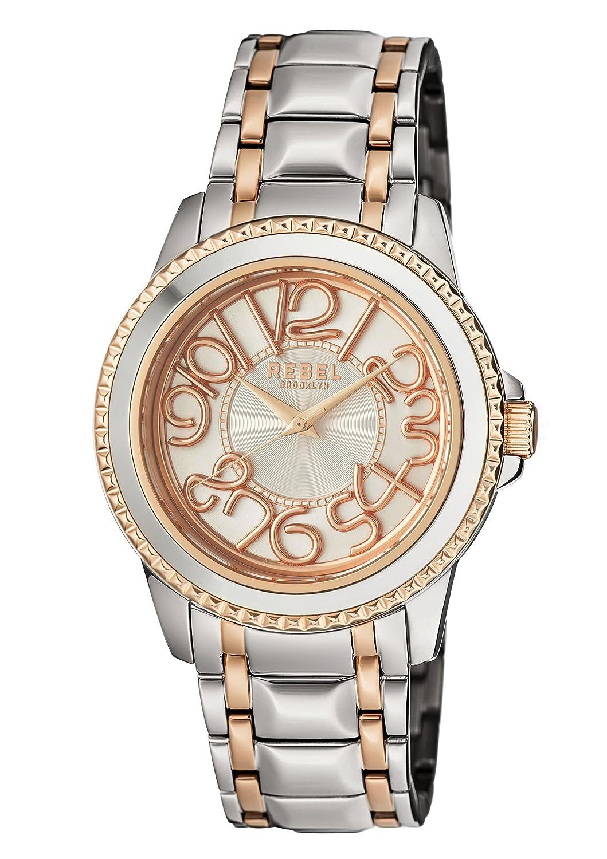 Rebel Brooklyn Williamsburgメンズクオーツrb107 – 6944シルバー/ローズステンレススチールブレスレット腕時計 B07CGV84ZG