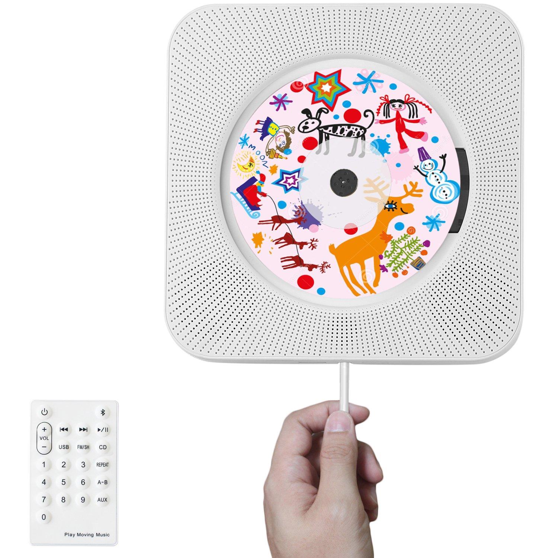 Reproductor de CD de Bluetooth, Benvo Altavoces HiFI para montaje en pared portátil Sistema estéreo portátil de audio doméstico (soporta CD, Bluetooth, disco USB, entradas / salidas AUX de 3,5 mm, radio FM) con mando a distanci