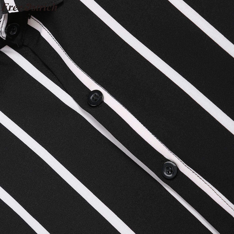Mens Stripe Loose Long Sleeve Shirts Casual Button Down Shirt