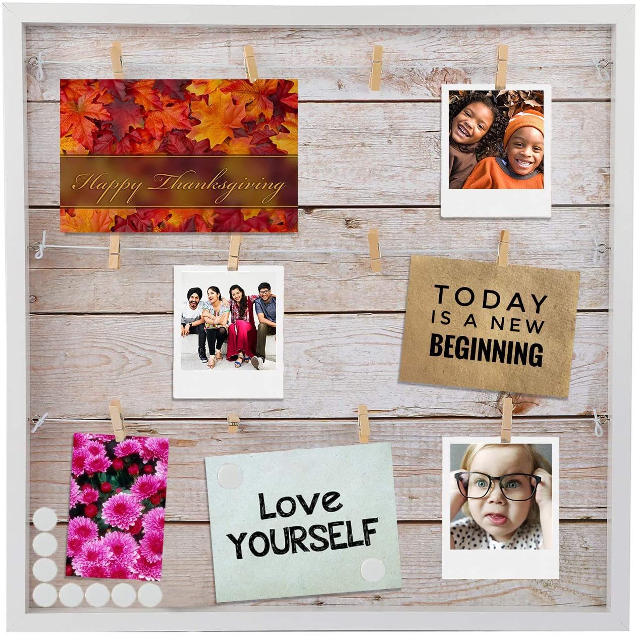 "Houseables Magnetic Collage Frame, 20"" x 20"", Multi Picture Display, Hanging Photo Board, w/Magnets & Clips, for Polaroids, Postcards, Memo, Art, Dorm, Wall, Holiday Card, Decorative Bulletin, Rustic"